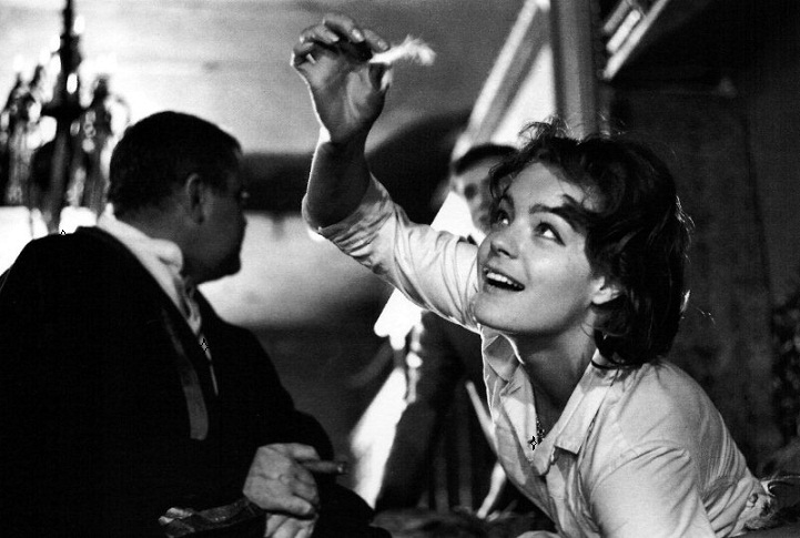 Romy Schneider, Orson Welles, and Anthony Perkins on the set of The Trial (1962, dir. Orson Welles) (1)